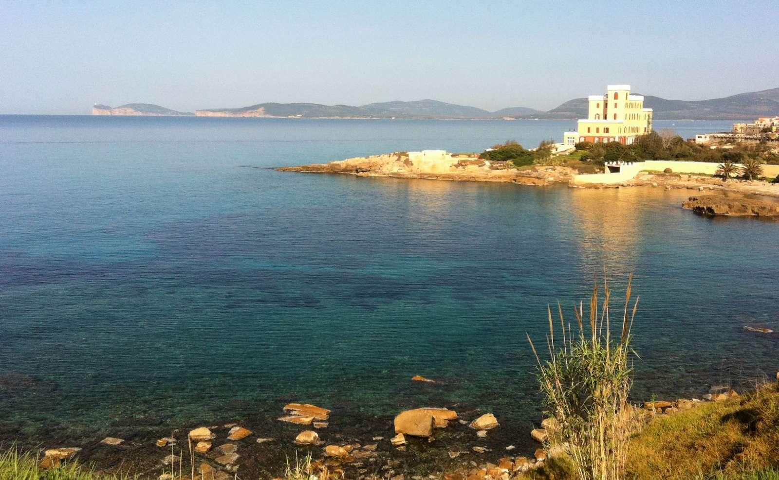 Utsikt och kristallklart hav