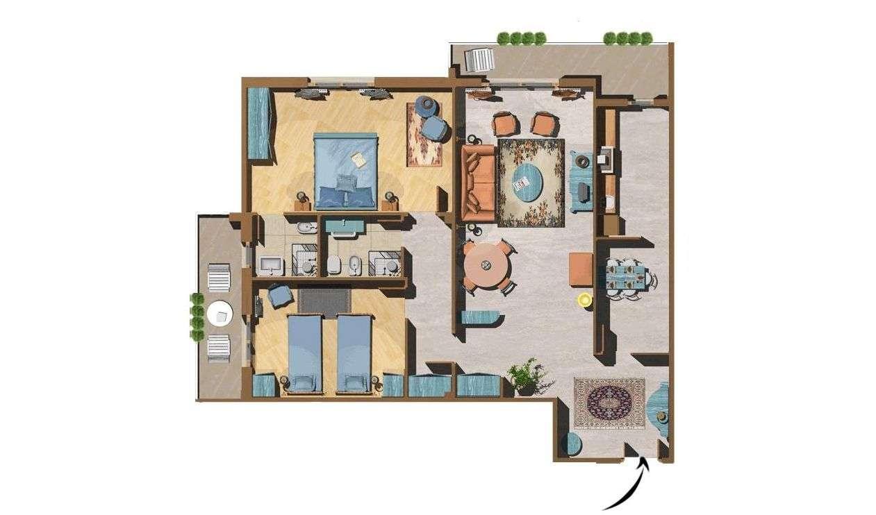 Beispiel für eine Dreizimmerwohnung Superior