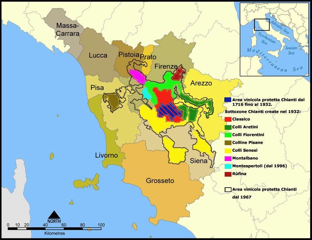 Die Karte vom Weingebiet Chianti (Quelle: Wikipedia)