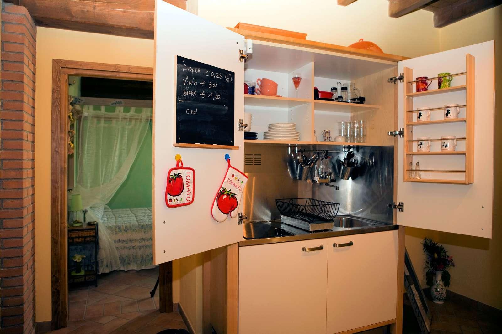 Gemensam kokvrå till de två rummen