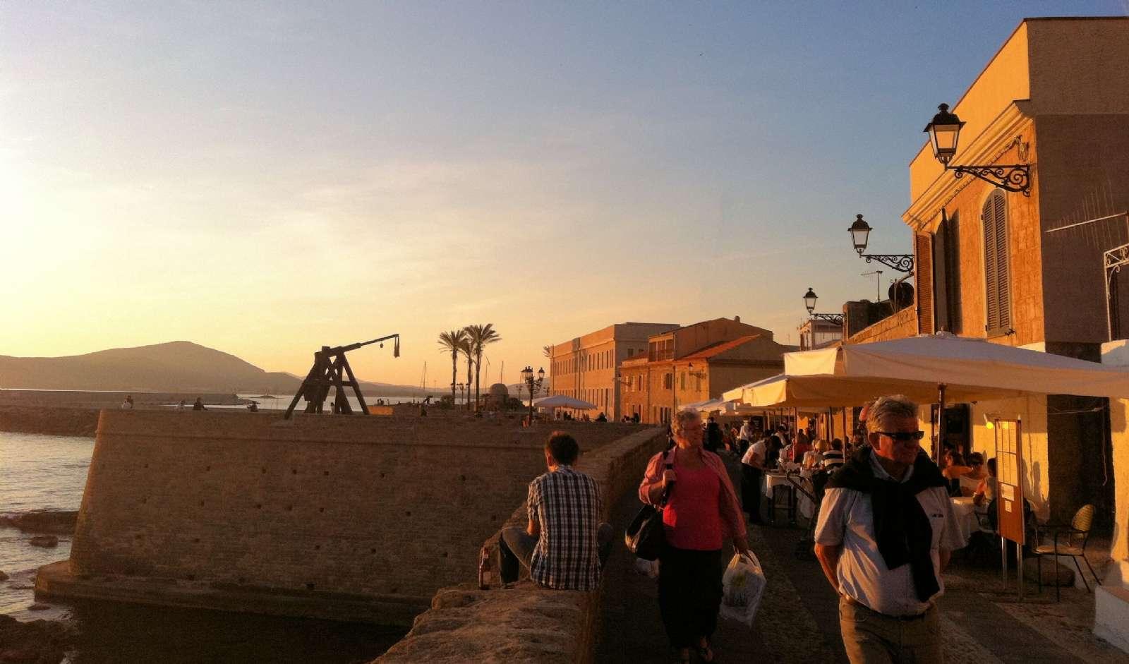 Lively restaurant scene down at the shore