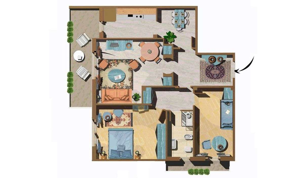 Example of 2 bedroom apartment