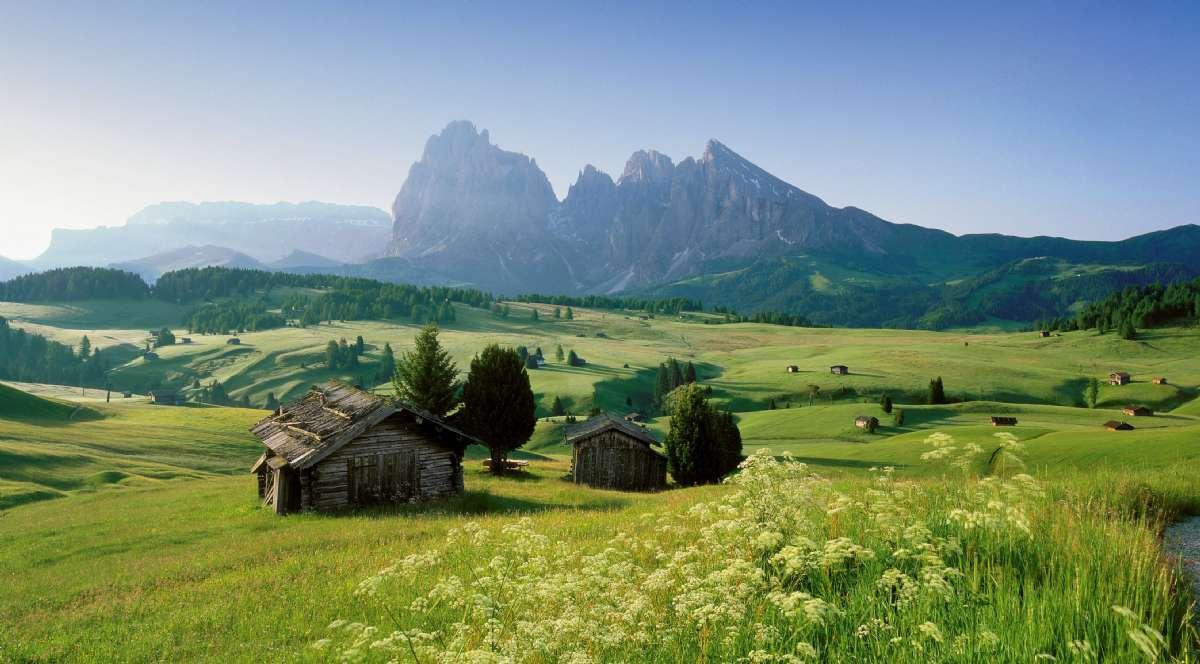 Betagande bergslandskap - här Alpe di Siusi
