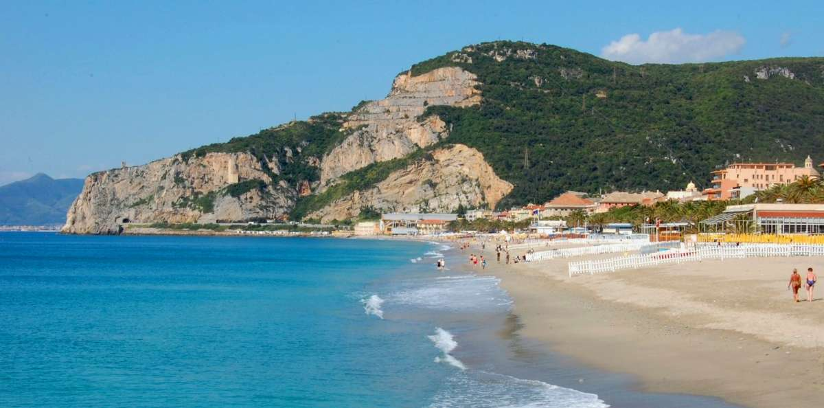 The beautiful sandy beach in Finale Ligure