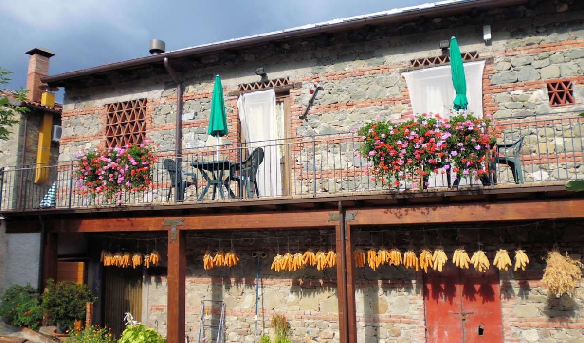 Terrassen foran lejligheederne Gufo, Cinghiale og Scoiattolo