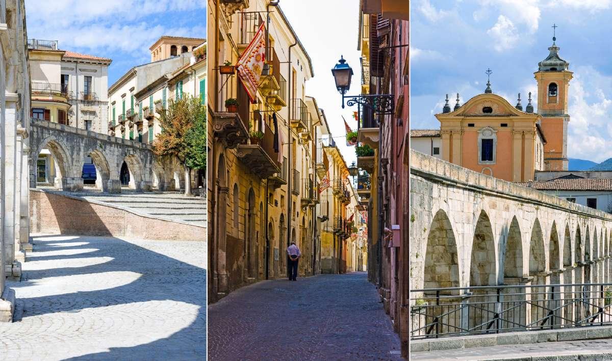 Sulmonas karakteristiske centrum med en akvadukt fra middelalderen