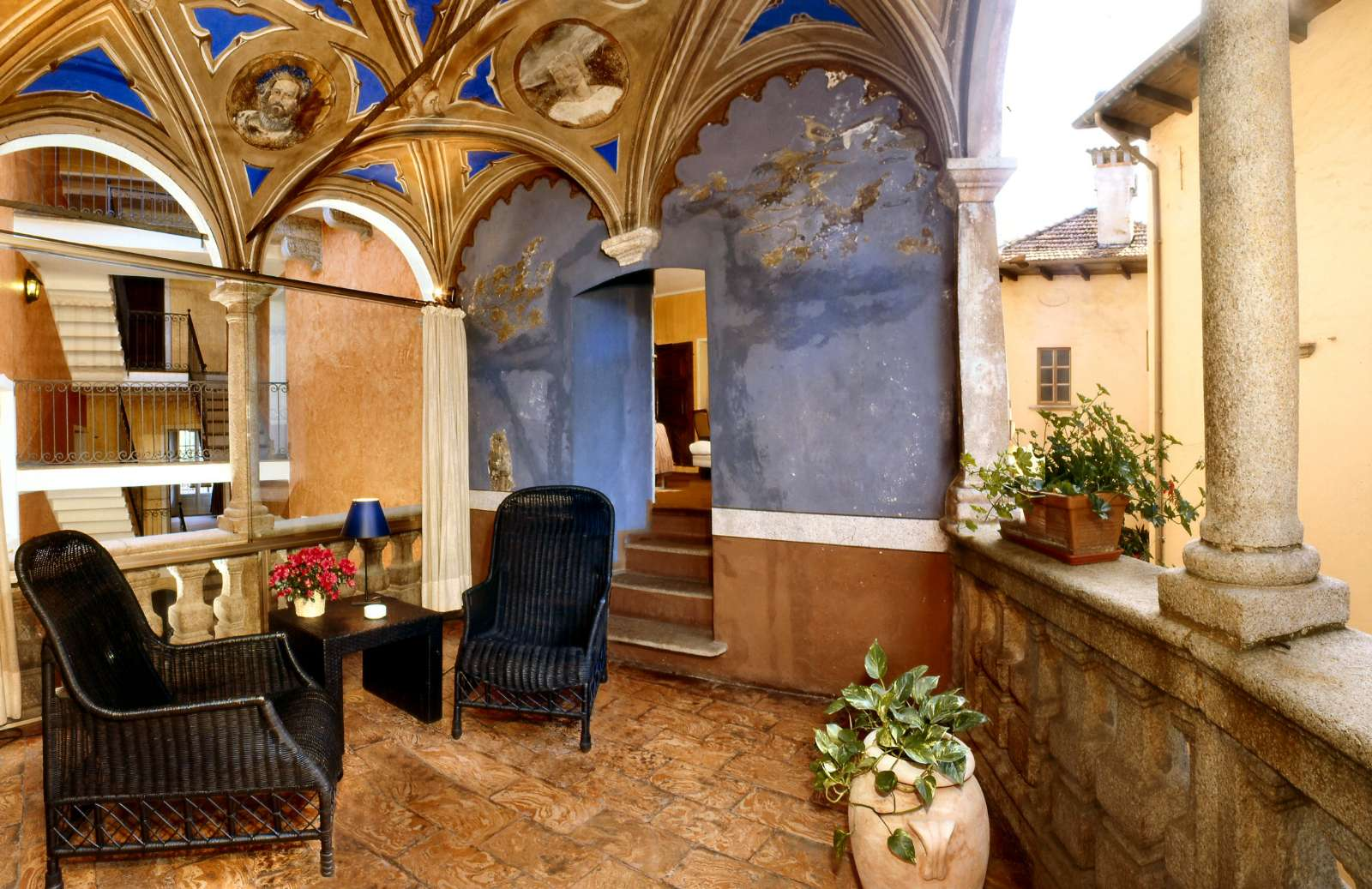 Beautiful loggia with historic view