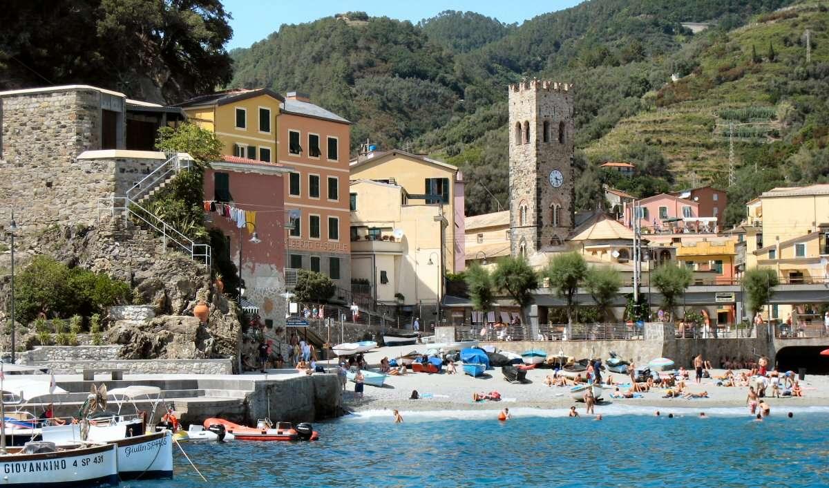 Hotel Pasquale- i den gula och orange byggnaden till vänster- sett från vattnet.