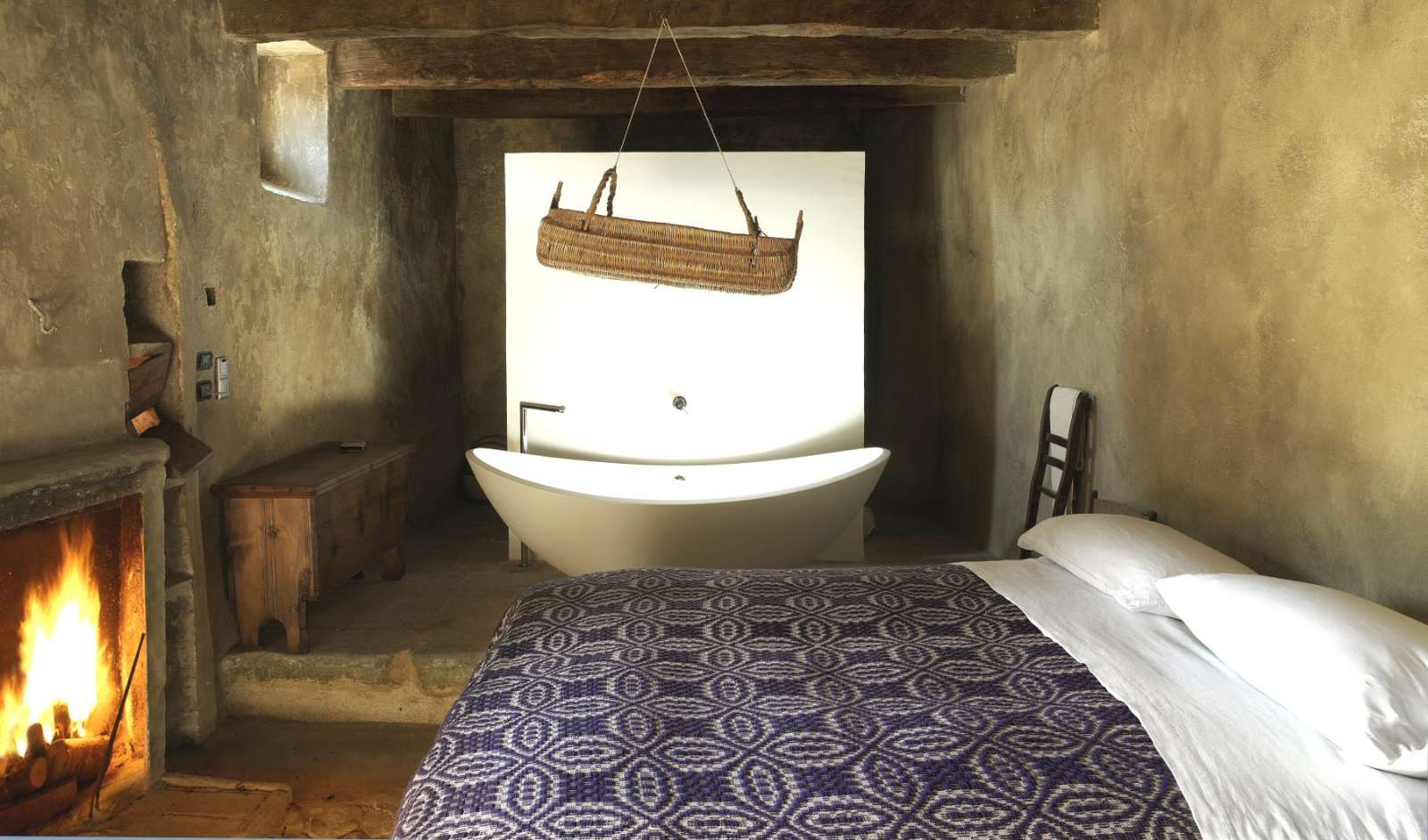 Many rooms have free-standing baths