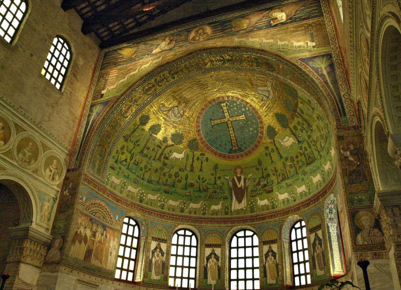 Betagande mosaik i Basilica di Classe (utanför Ravenna)