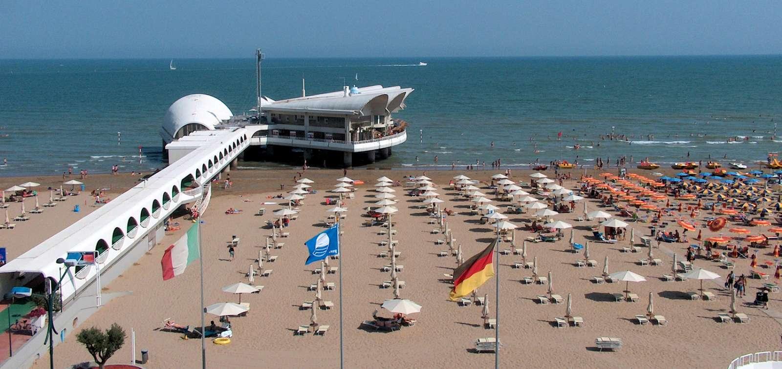 Golden sandy beach in Lignano