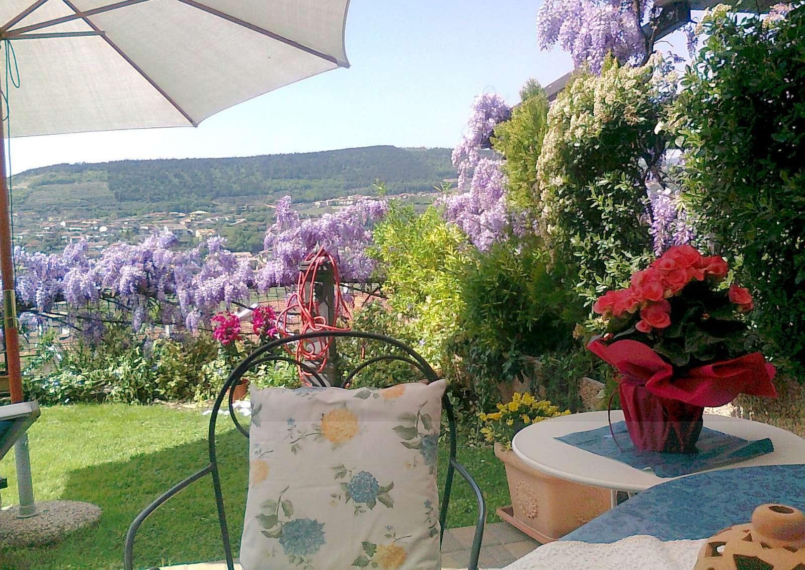 Terrasse und Garten mit Aussicht auf die Weinberge und die Ortschaft Negrar
