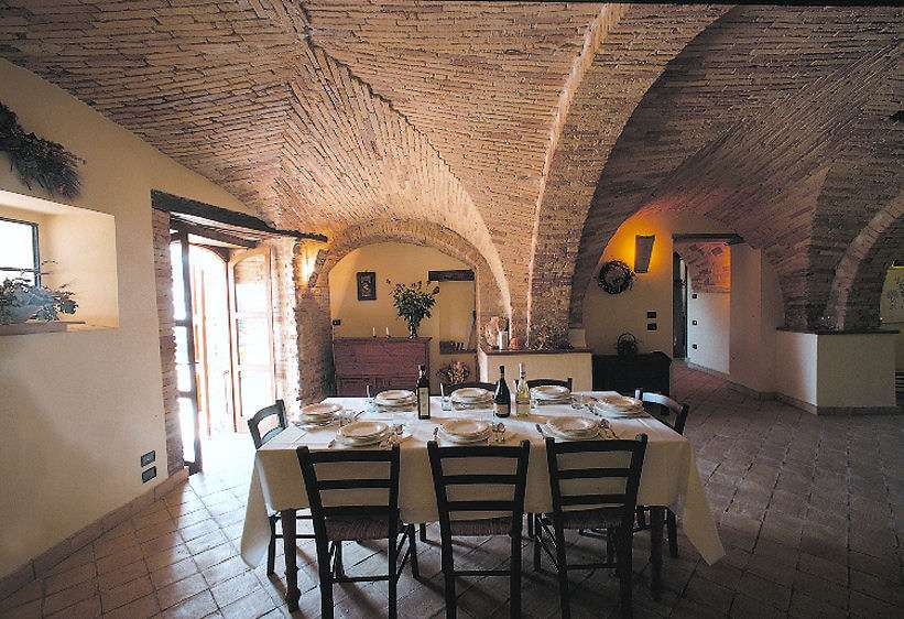 The dining room under the vaulted ceilings