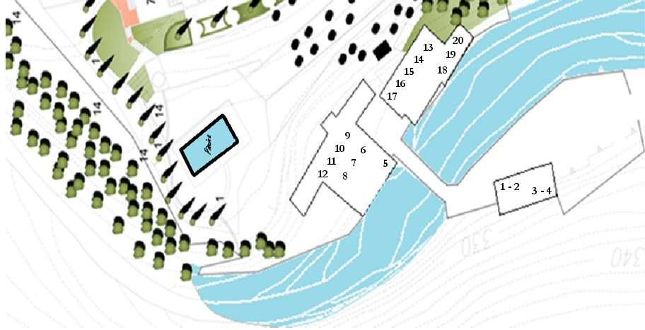 Plan (N.B: la position des appartements n'est pas reportée de manière exacte)