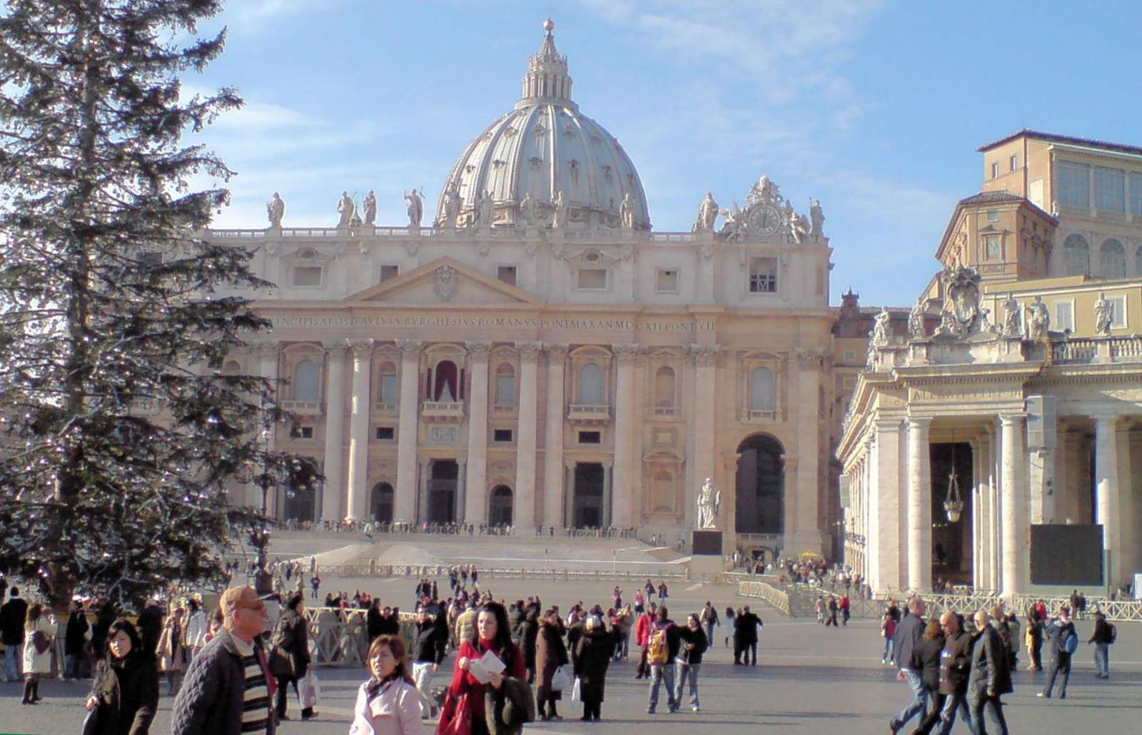 The Christmas tree in front of St. Peter's Basilica