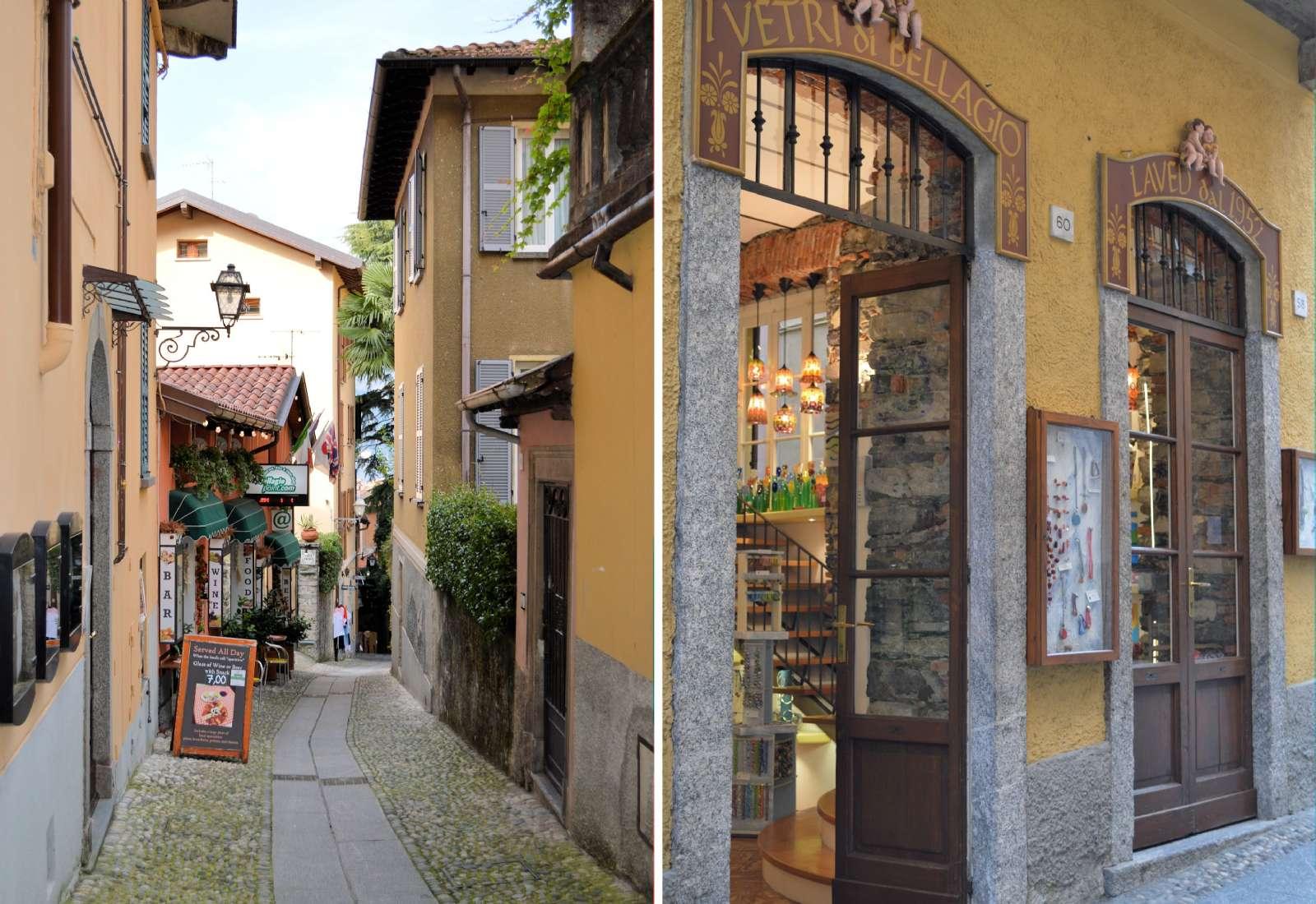 De hyggelige og smalle handelsgågader midt i Bellagio