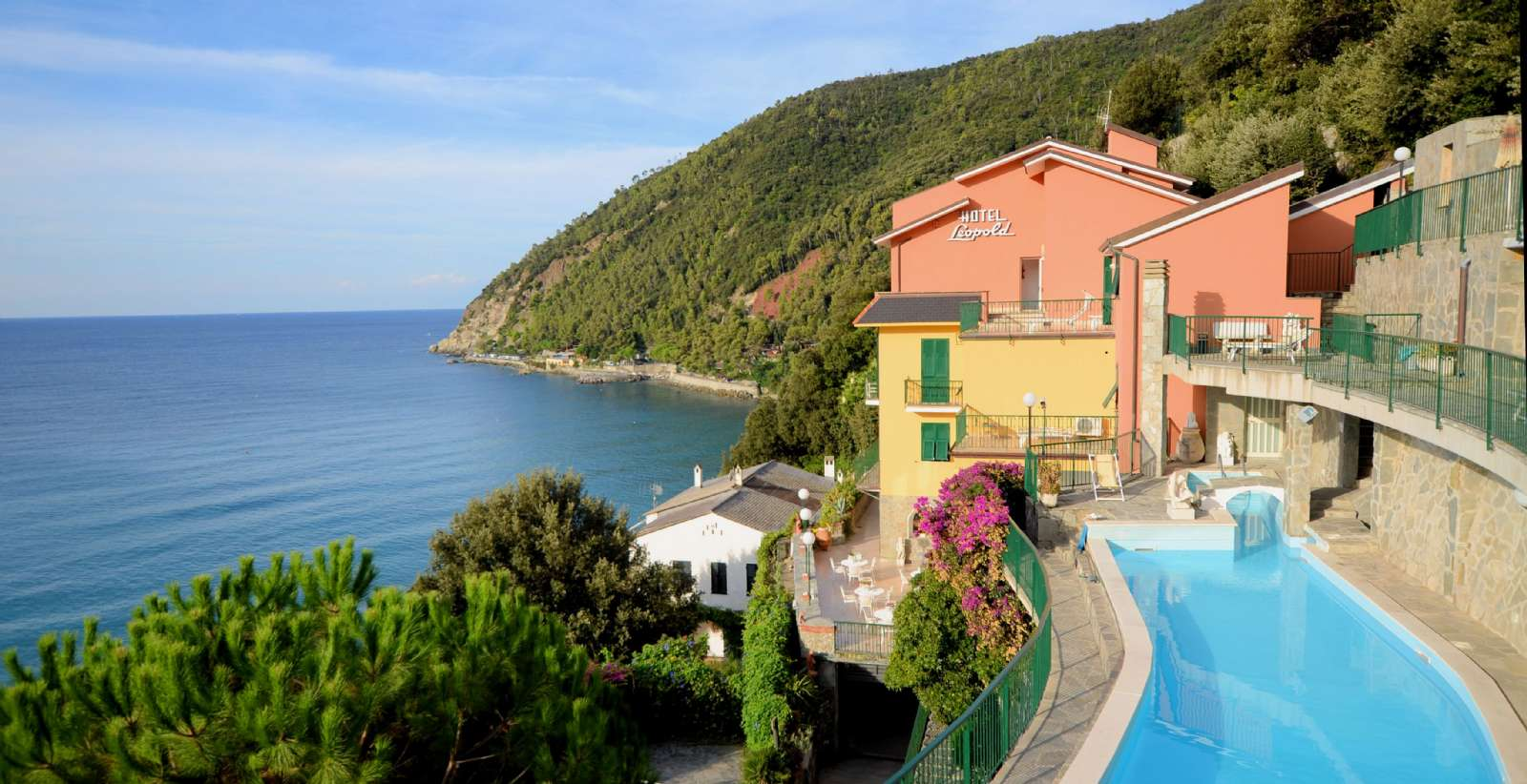 Panoramic view of the Cinque Terre National Park from the pool