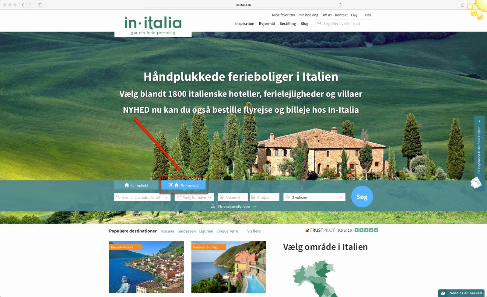 Step 1 saadan bestiller du en pakkerejse med In-Italia Rejser