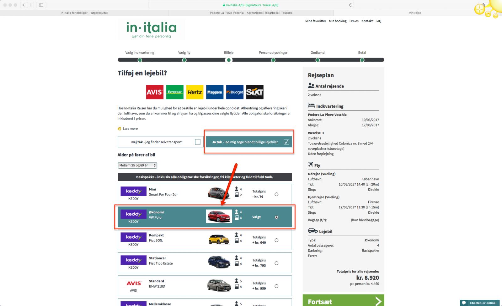 Step 10 saadan bestiller du en pakkerejse med In-Italia