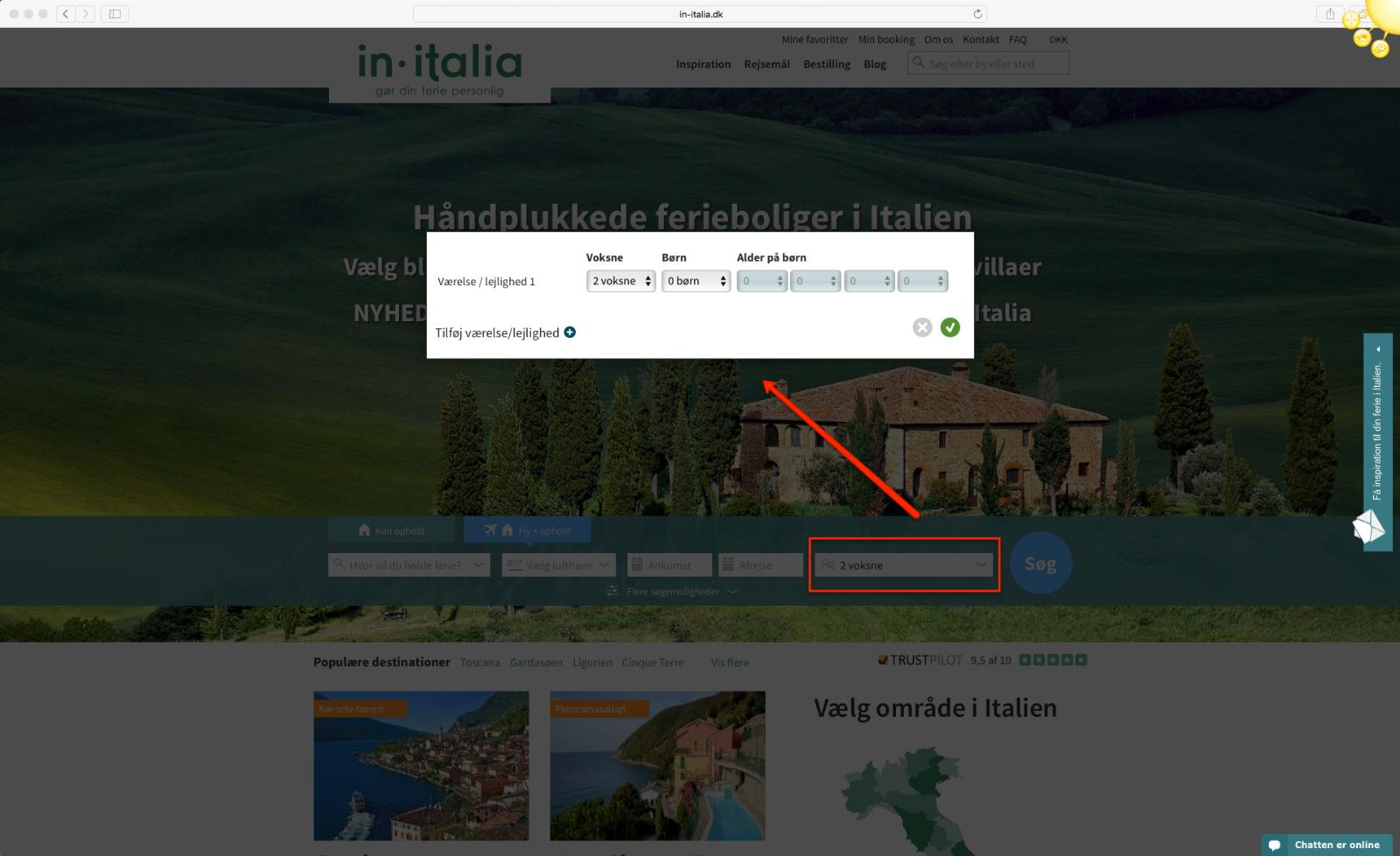 Step 3 saadan bestiller du en pakkerejse med In-Italia