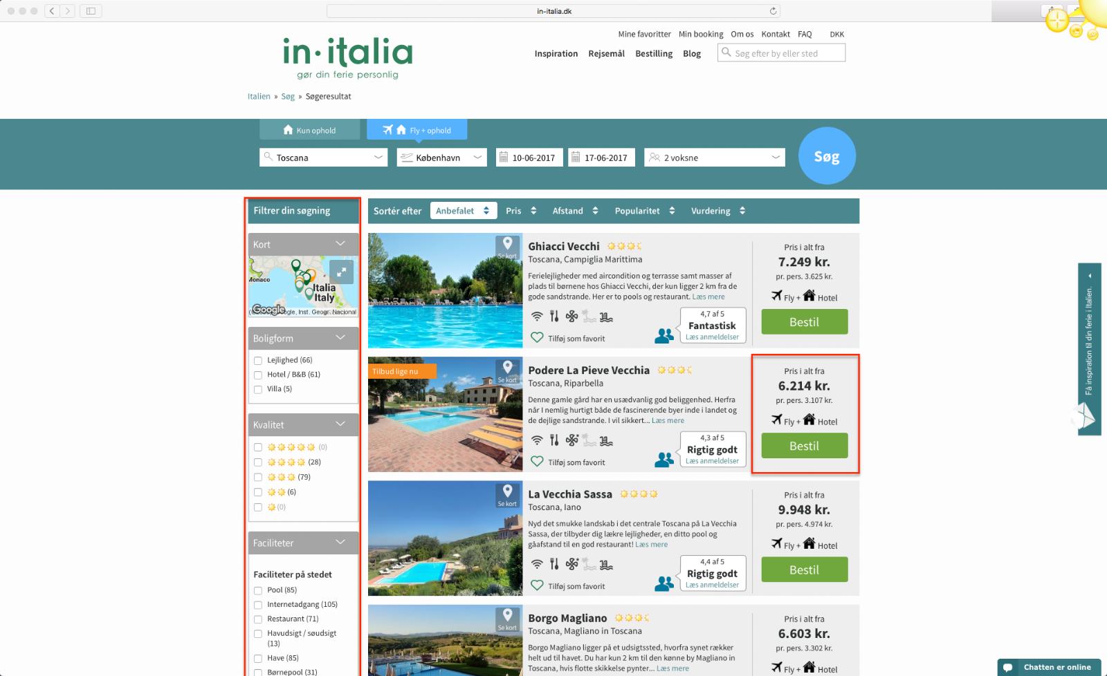 Step 4 saadan bestiller du en pakkerejse med In-Italia