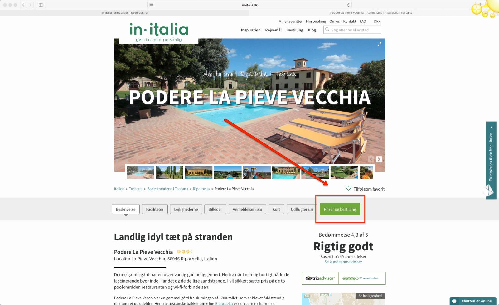 Step 5 saadan bestiller du en pakkerejse med In-Italia
