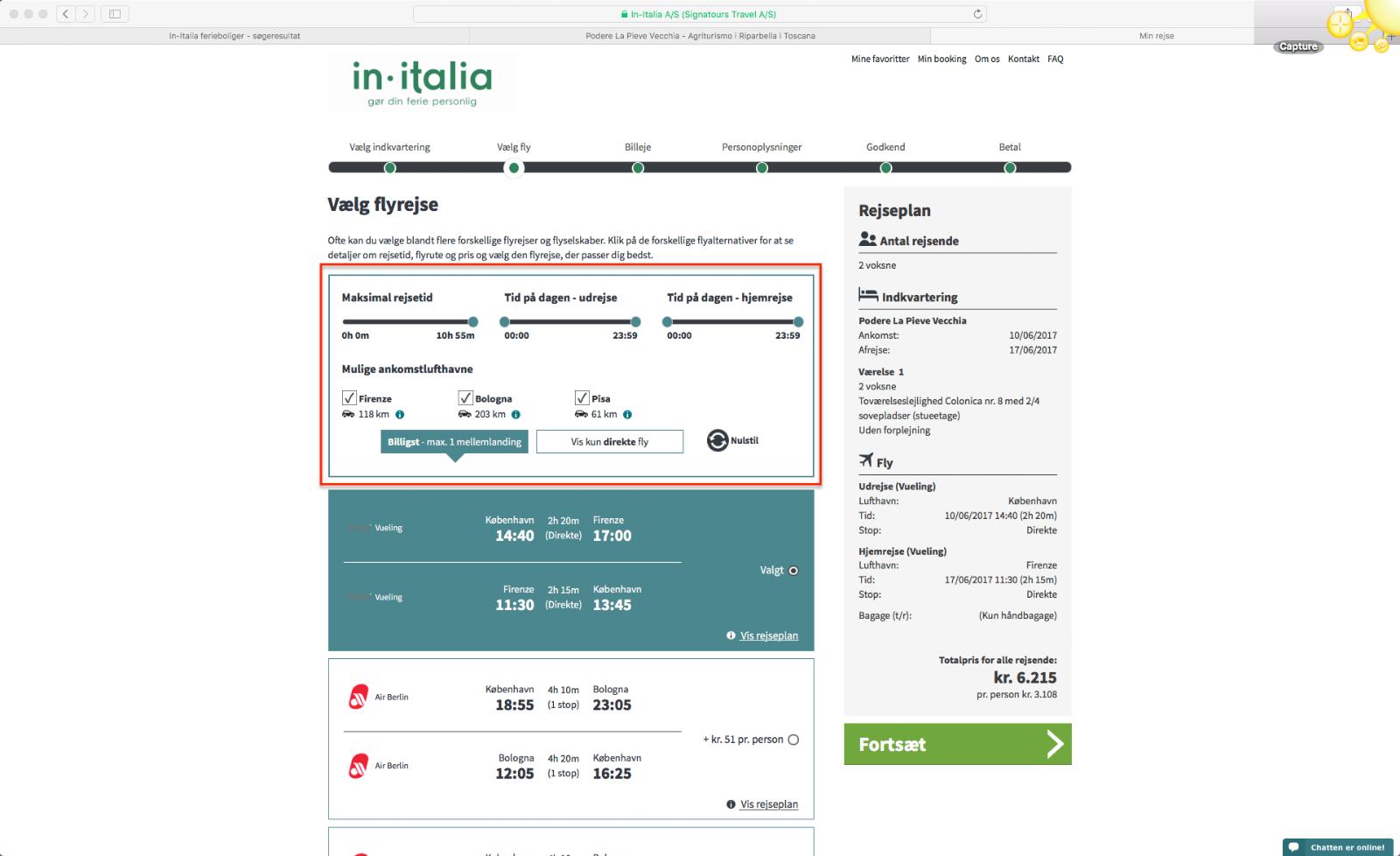 Step 7 saadan bestiller du en pakkerejse med In-Italia