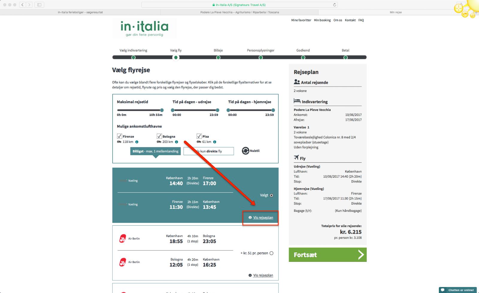 Step 8 saadan bestiller du en pakkerejse med In-Italia