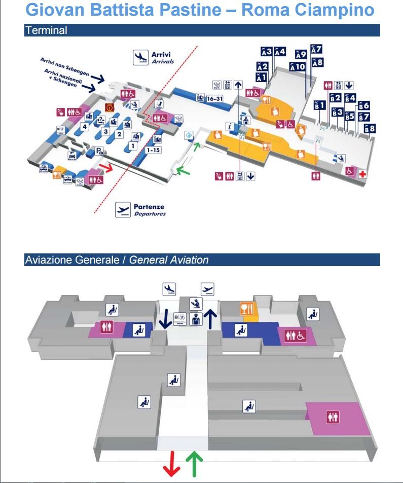 Kort over teminalen i Rom Ciampino lufthavn