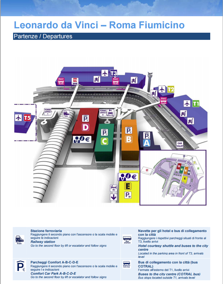 Kort terminaler i Rom Fiumicino lufthavn