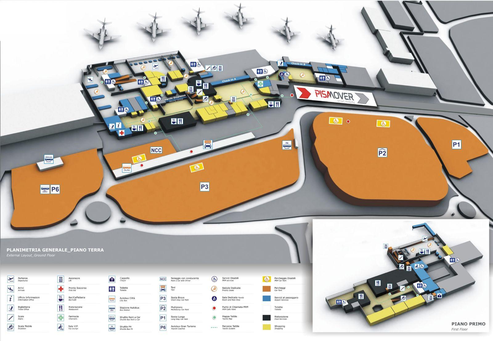 Oversigtskort med faciliteter Pisa lufthavn