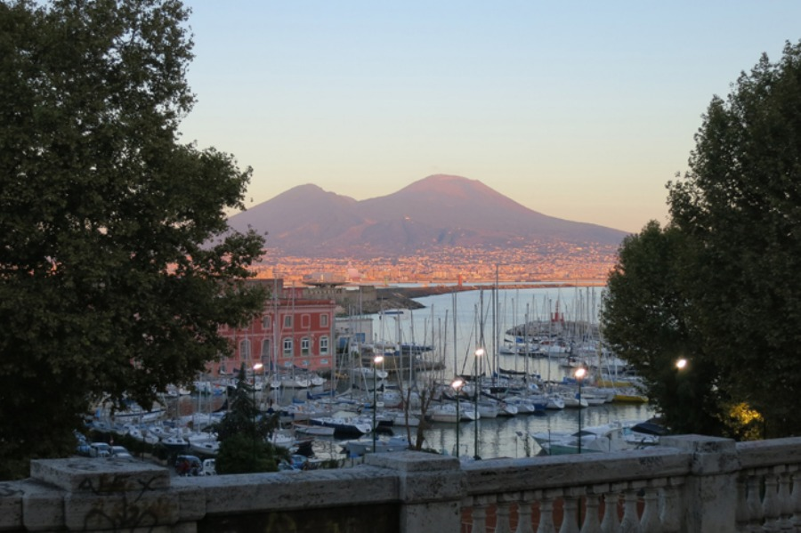 Sunset over Vesuvius - view from the bay promenade